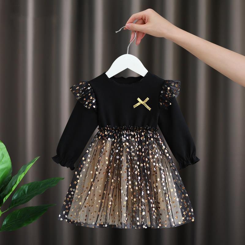 Mädchen Kleid Herbst Kinderkleid Mädchen Flauschige Tops Kleines Mädchen Nettogarn Prinzessin Kinderkleidung 0-6 Jahre