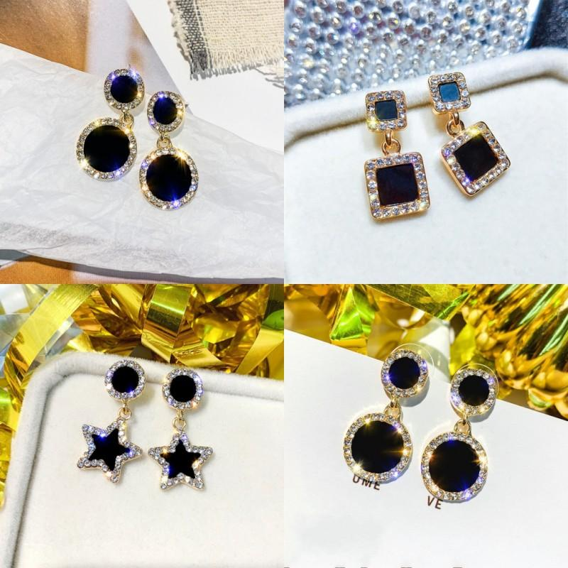 Rhinestone Crystal Earrings Stars Square Circular Ear Pendants Women Lady Fashion Charm Eardrop Jewelry Accessories Party 1 6sfa N2