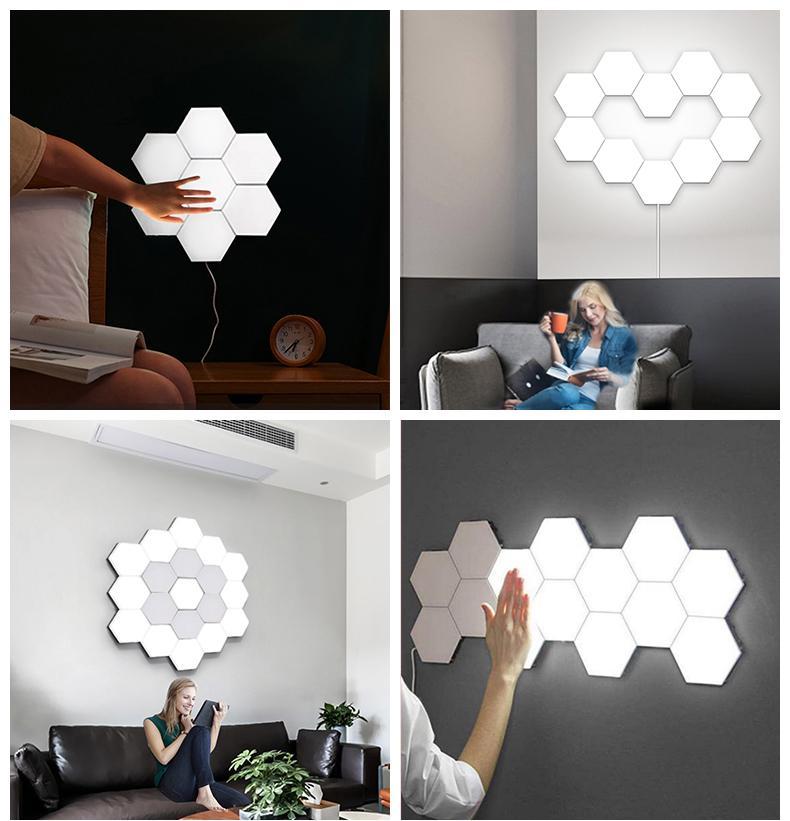 1 قطع الكم الكم الصمام مصباح وحدات اللمس الحساسة الإضاءة سداسية ضوء مصابيح الجدار مصباح الجدار سداسية الجدار