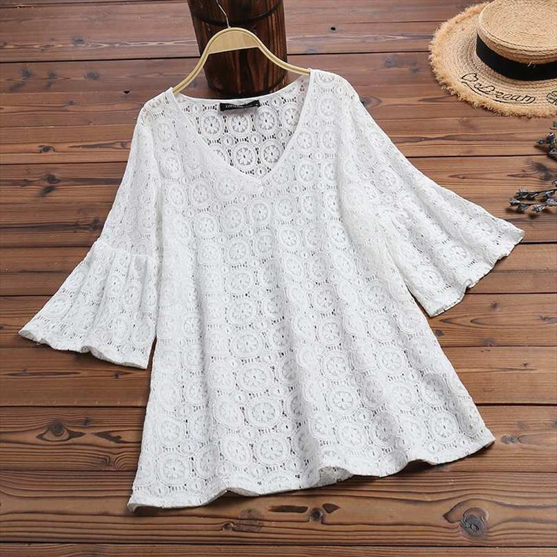 2020 ZANZEA Bohemain Lace Tops Womens Summer Blouse Sexy V Neck Hollow Blusas Female Casual Flare Sleeve Shirts Plus Size Tunic