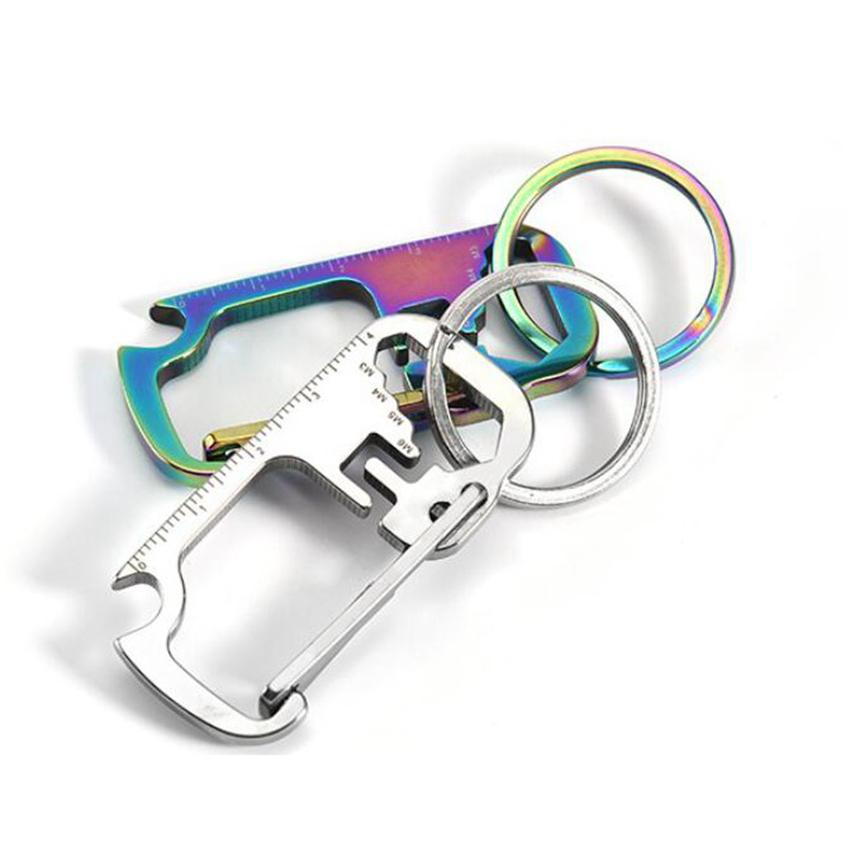 3 colors Stainless Steel Key Chain Multi-function Opener Ruler Keychain Hang Buckle Key Ring Beer Bottle Opener RRA3540