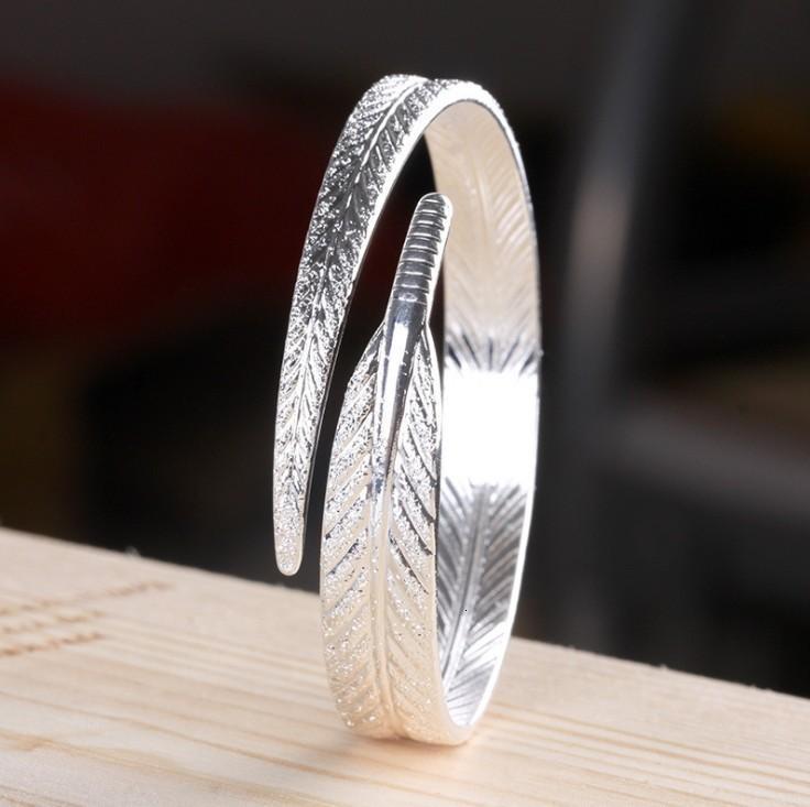 Accessoire Damen Silber überzogene Mode Angel Feder Verstellbare Öffnung Armband 16ol7