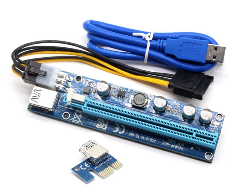 Riser Ver 008C PCIe Riser 6Pin 16x для добычи BTC со светодиодной экспресс-картой с кабелем питания SATA и кабель качества USB 60 см.