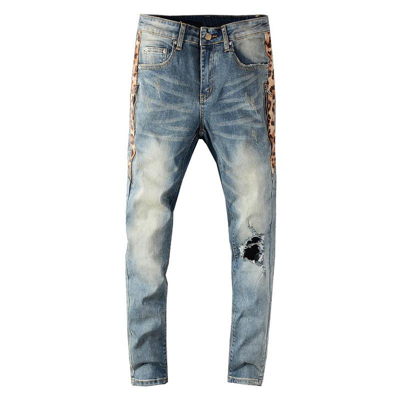 Sokotoo Hommes Print Print Patchwork Trous Patchwork Jeans Streetwear Slim Skinny Stretch Denim Pantalon C1123
