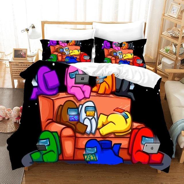 Juego Entre nosotros 2/3 unids Conjunto de ropa de cama Traje Kid Edredón Cubierta Dibujos animados Juego de dibujos animados Cama Impreso Niño Speeda Cama Cama de Dormitorio Cubierta de edredón Ropa de cama