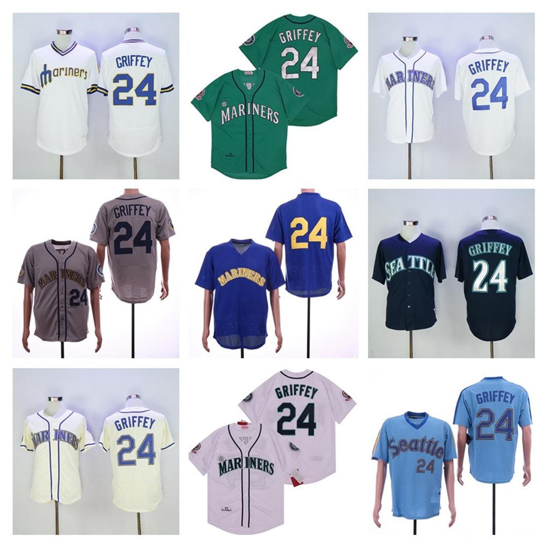 Erkekler Kadınlar Çocuklar Gençlik Seattle Beyzbol Formaları 24 Ken Griffey Jr Vintage Yeşil Lacivert Mavi Bej Gri Dikişli Flexbase 2016 Serin Base