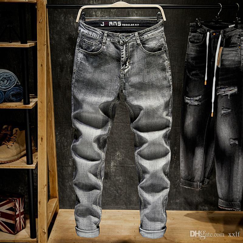 2020 Frühling Herbst Winter Mode Männer Jeans Grau Straight Fit Baumwolle Ripping Jeans Für Männer Casual Hosen Basic Klassik