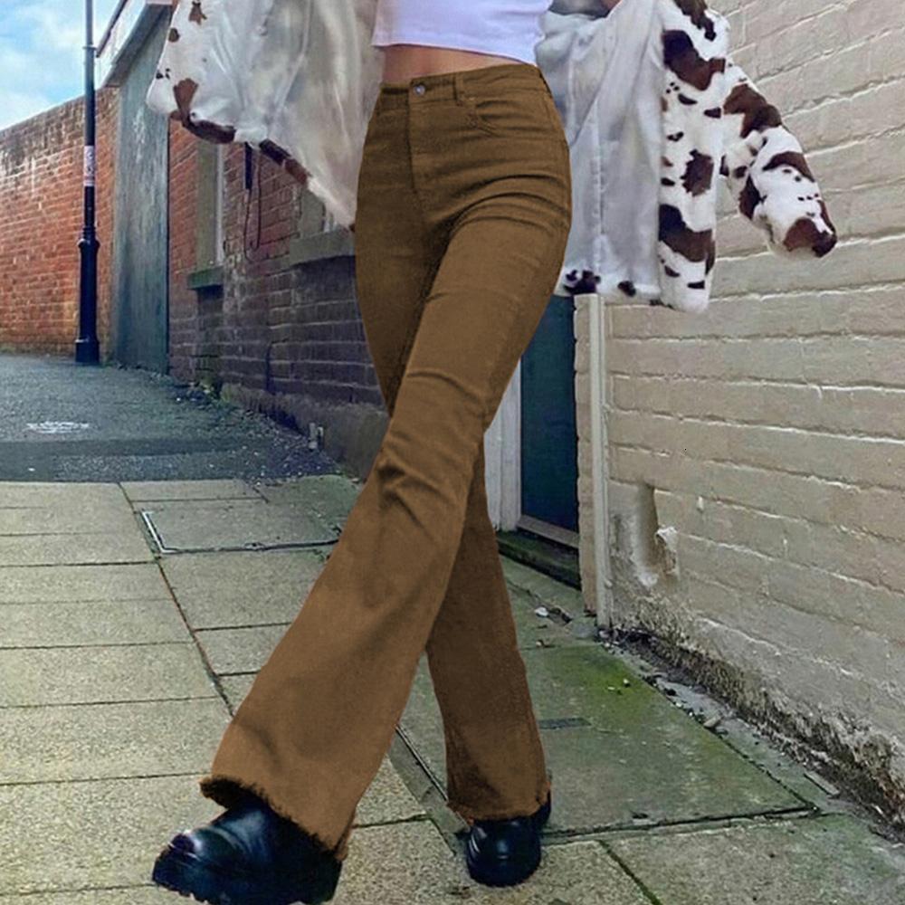 Missme Vintage Brown Rits Mujeres High Tail Jeans Right Denim Broek Streetwear