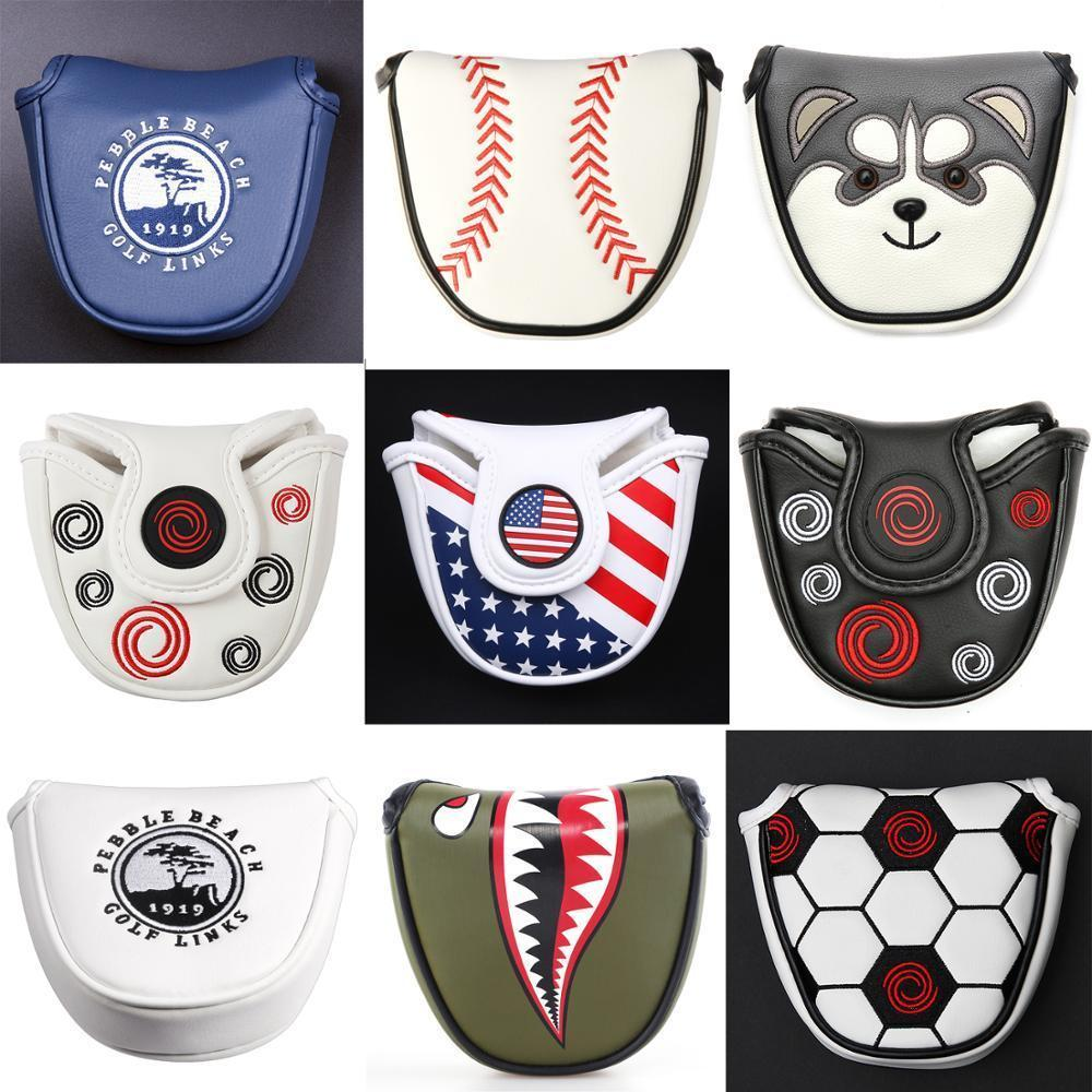 Cierre magnético Personalizado Golf Mallet Putter Putter Cubiertas en la cabeza Cuero sintético Multi Style Color Envío gratis 201028