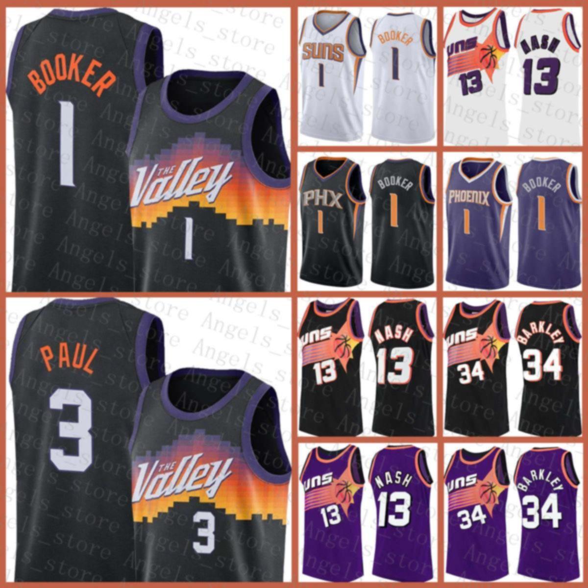 Devin 1 Booker Mens Chris Steve 13 Nash 3 Paul Gençlik Charles 34 Barkley PhoenixGüneşlerYeni 2020 2021 Basketbol Jersey Bej