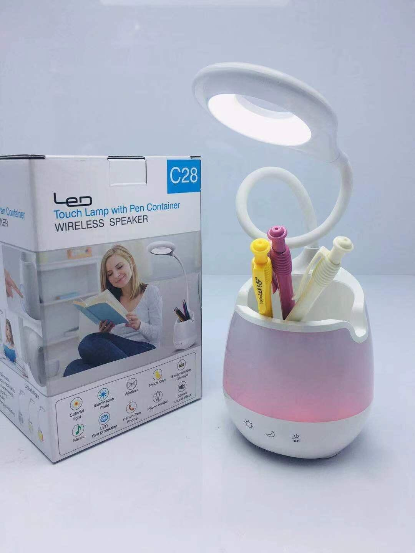 2020 Wireless Bluetooth-Lautsprecher-Touch-Lampe mit Stiftbehälter-Wireless-Lautsprecher tragbare Lautsprecher mit LED-Licht