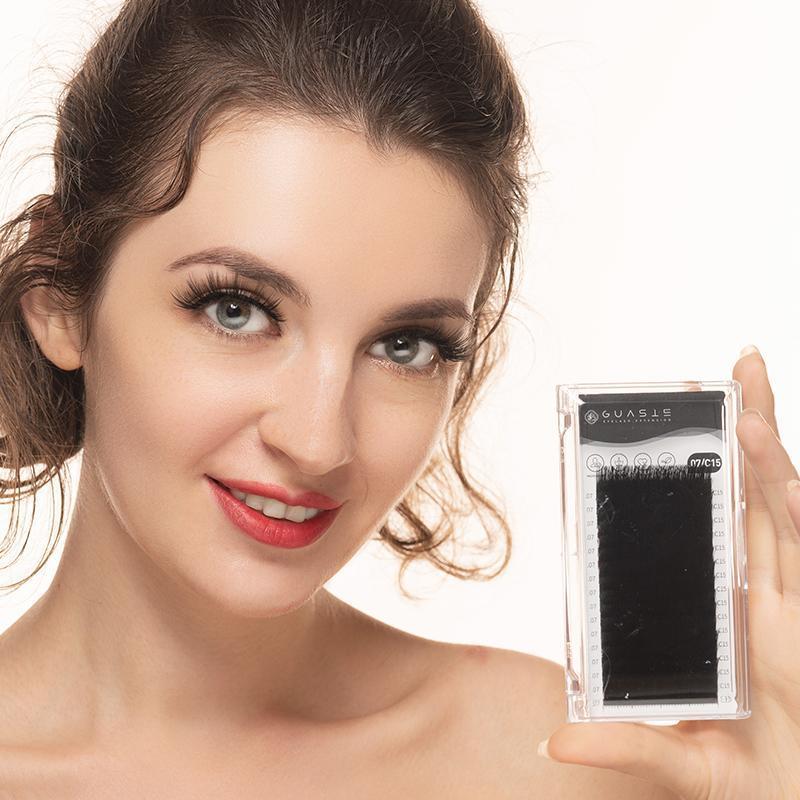 16Rows pestañas individuales Extensión Faux Cil Mink pestañas falsas largas pestañas artificiales del maquillaje Material natural hecho a mano Lash