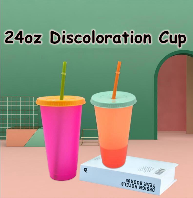 24 OZ Renk Değiştirme Kupası Sihirli Plastik Kapak ve Saman Ile Tumblers Içme Yıkılabilir Şeker Renkler Soğuk Kupası Yaz Su Şişesi CCA12201 50 adet