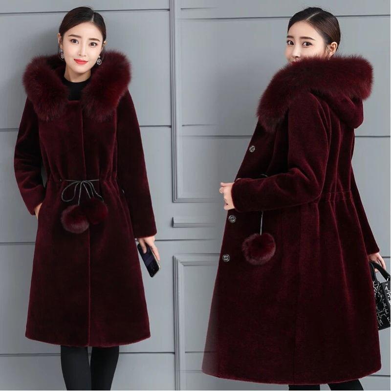 Abrigo de piel de imitación larga para mujer invierno chaqueta de piel artificial más tamaño grueso abrigos de cálido capucha