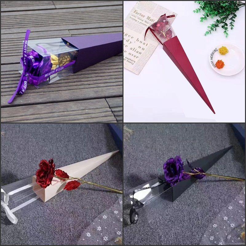 Valentines Kreativtag Geschenkkoffer Dreieckiger Typ Kiste für immer Goldfolie Überzogene Rosenfrauen Geschenk 2 8MT O2