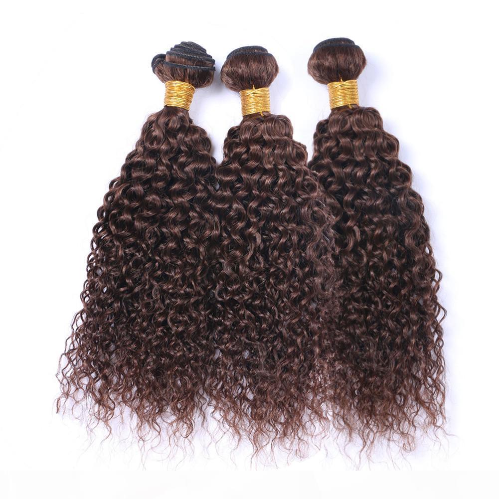 # 4 Шоколадно-коричневые Индийские человеческие волосы Пакеты волос kinky Курча