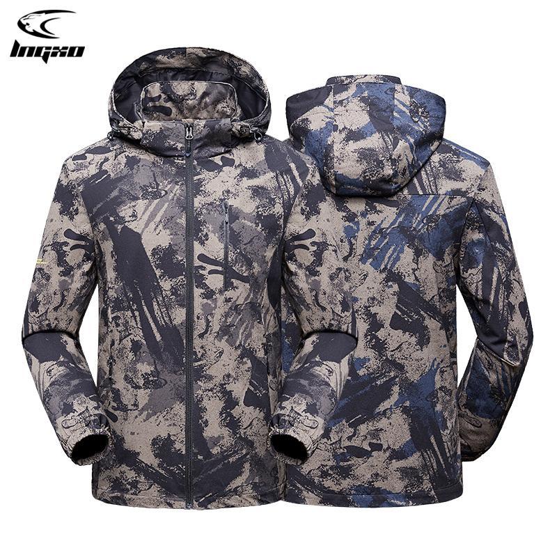 LNGXO Yağmur Ceket Erkekler Su Geçirmez Avcılık Giysileri Yürüyüş Kamp Kamuflaj Taktik Rüzgarlık Goretex Ceket Açık Ceket Erkekler Q1201