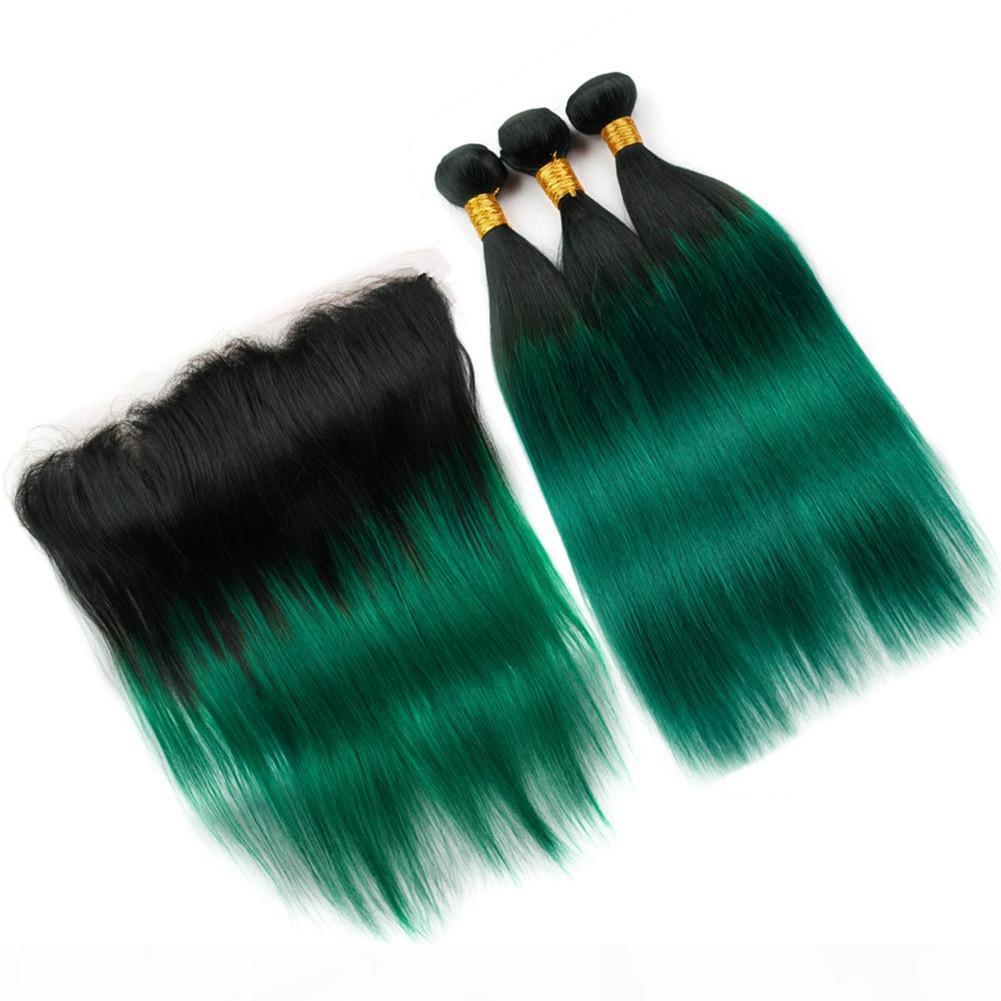 Bakire Perulu İnsan Saç Koyu Yeşil Ombre Örgü Demetleri 3 ADET Frontal Kapatma Ile # 1B Yeşil Ombre Düz Demetleri ile 13x4 Dantel Frontal