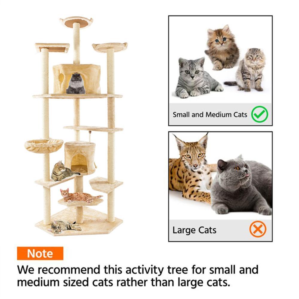 80 дюймов Cat Tree Tree Play House Condo Мебель Scratch Post Basket Cat Clob Clob Дерево Холбус Держатель Восхождение Стенд Гамака Бесплатная Доставка