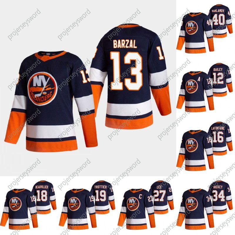 2021 Reverse Retro Mathew Barzal Jersey New York Islanders Josh Bailey Anders Lee JD Eberle Brock Nelso Jean-Gabriel Pageau Anthony Beauvillier Reverse Retro