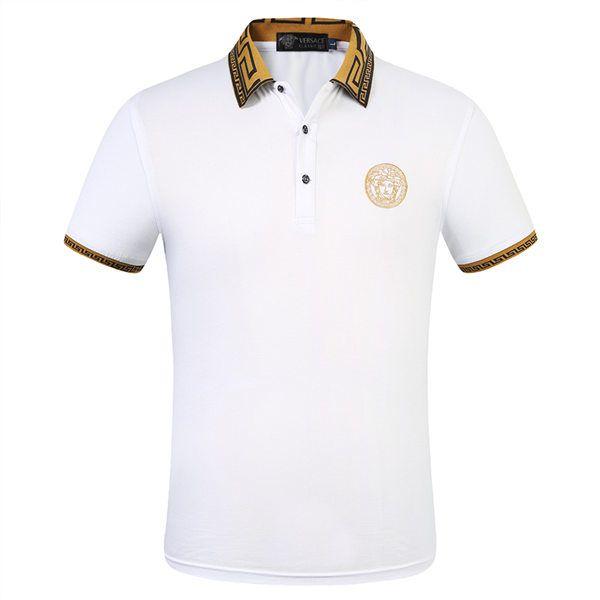 NUEVO diseñador para hombre Polo Shirts Primavera y otoño Marca de algodón Ropa de algodón Impresión de la impresión de camisas de lujo Slim Mangas largas Polarhirt Hombres