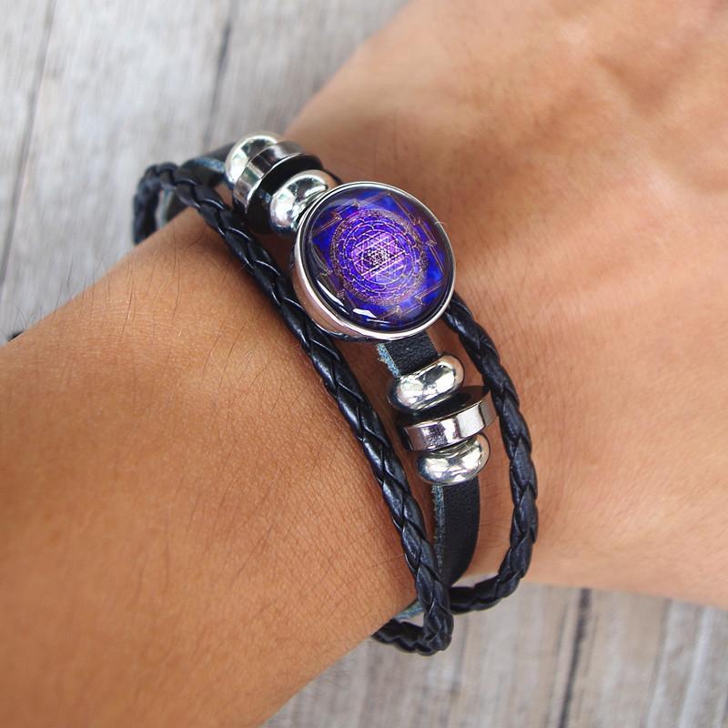 Couro artesanal budista sri yantra pulseira multi-camada trançada geometria sagrada sri yantra mulheres homens moda jóias preta
