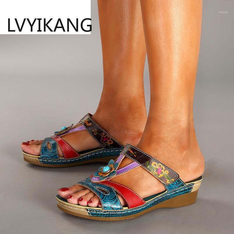 Women Sandals Fashion Ethnic Style Flowers Sandals Wedges Flip Flop Ladies Shoes1