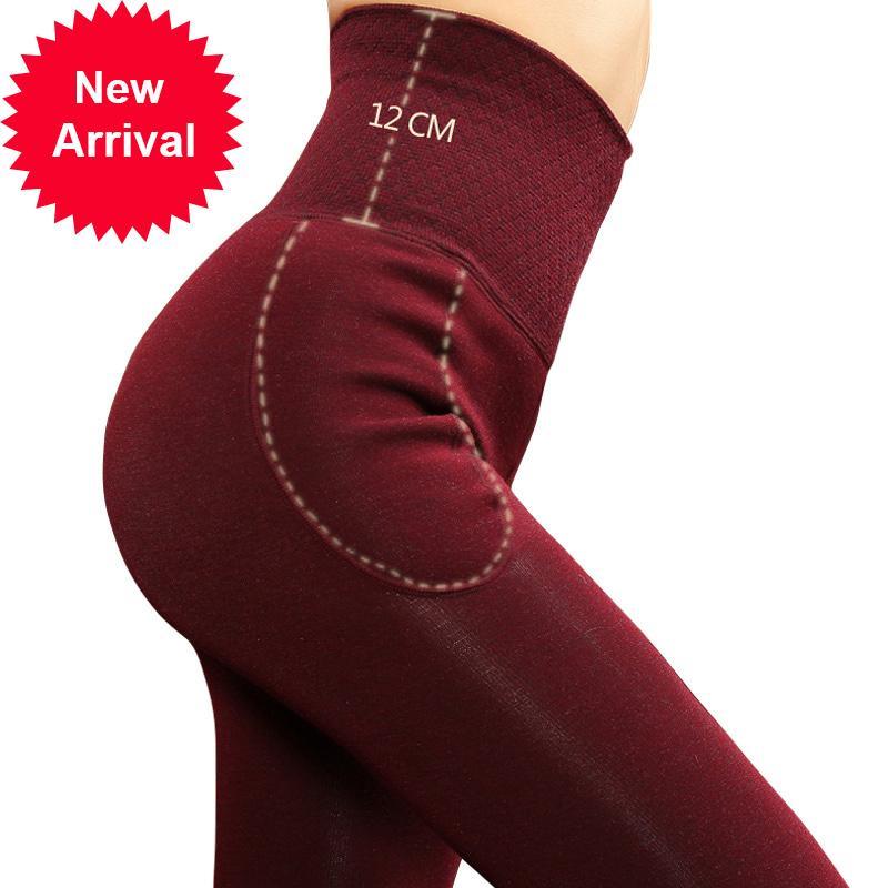 ZJX DONNE DONNA Pantaloni invernali Vita dimagrante Addensare addensare High Elastic Women Warm Warm Velvet leggings