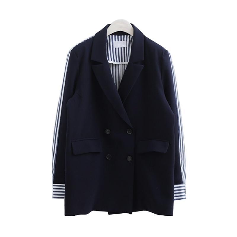 LANMREM Осенняя новая пальто три четверти рукав полоса в полоску сплещенные двойные зубчатые женские женские мода куртка BC063 201006