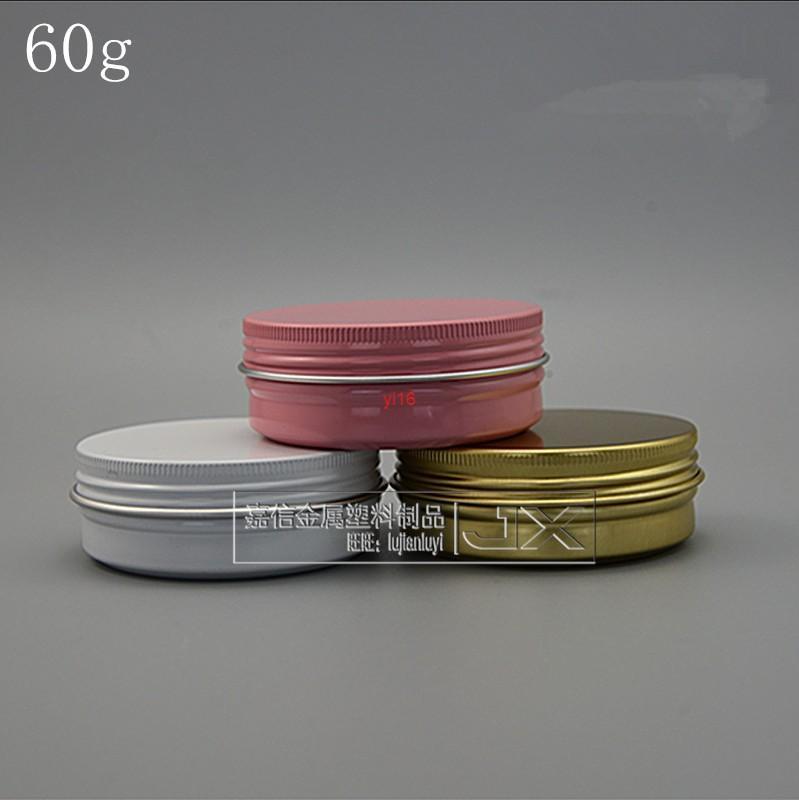 Spedizione rapida Spedizione gratuita 60 g / ml rosa bianco in alluminio dorato vuoto vuoto lucifugal bottiglia piatta barattolo crema gel gel cosmetici contenitori cosmetici