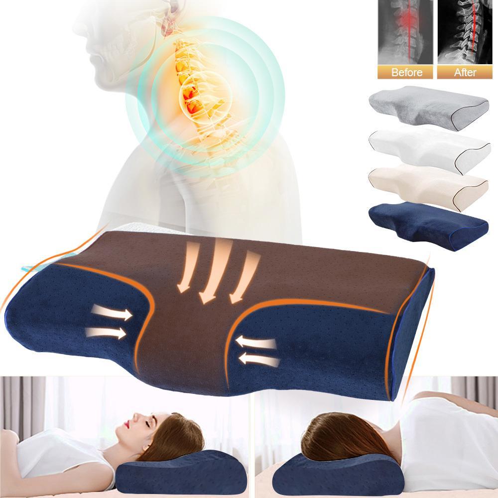 Cuscini da letto a forma di cuscino ortopedico Massaggio Memory Memory Foam Cuscino per il collo del collo addormentato Sollievo del dolore cervicale 201219