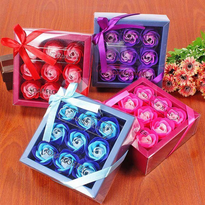 발렌타인 데이 선물 9 PC 비누 꽃 장미 상자 결혼 생일 날 인공 비누 장미 선물 발렌타인 데이 장식