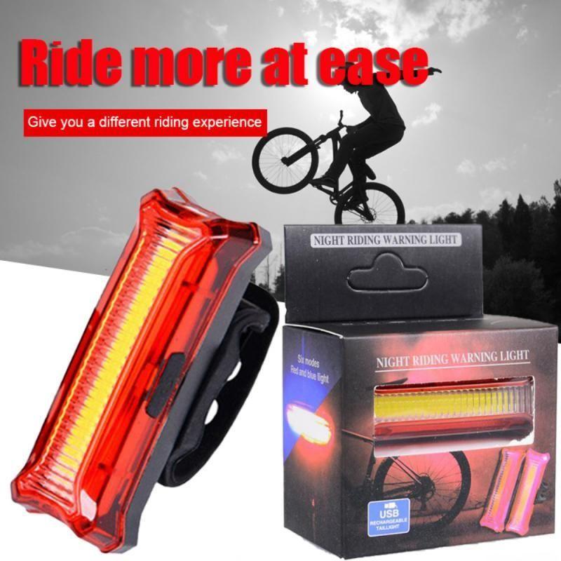 Nuevas luces traseras de dos colores luces de bicicleta USB de carga LED luces de advertencia Noche Bicicleta trasera Luz de montaña Accesorios de bicicleta