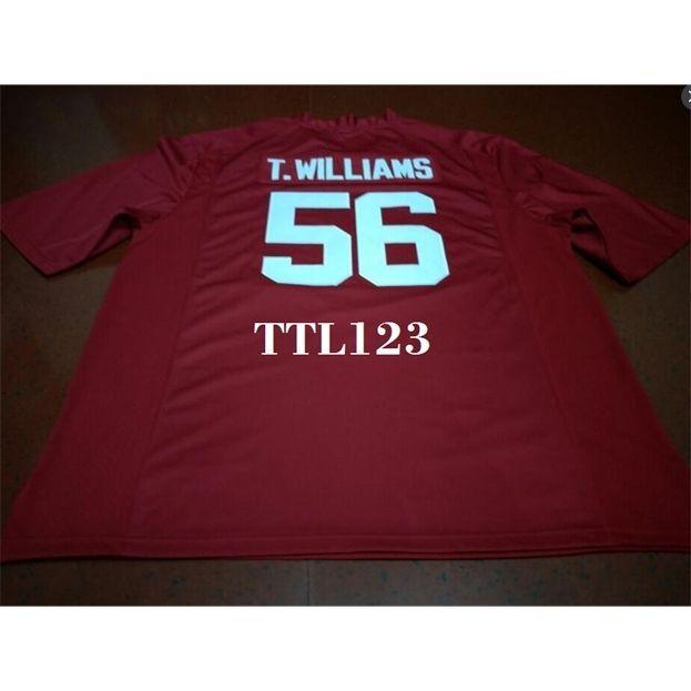 Мужчины # 56 Тим Уильямс Алабама Малиновый прилив Красный черный Белый Колледж Джерси или пользовательское имя или Номер Джерси