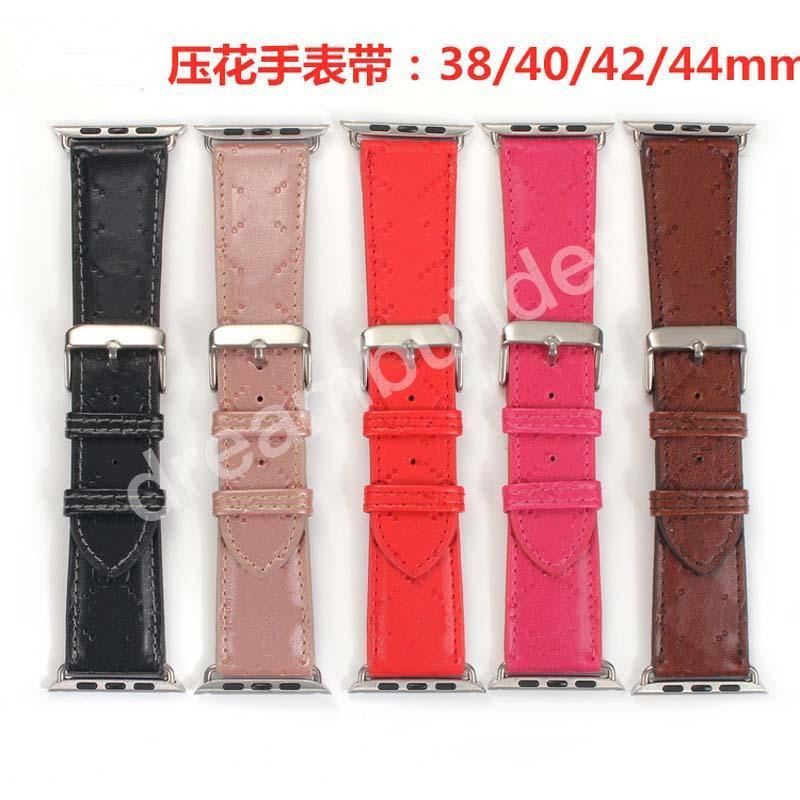 G Designer Watchbands 42mm 38mm 40mm 44mm IWatch 2 3 4 5 Bands Cinturino in pelle Bracciale Bracciale Strisce di moda Drops Shipping