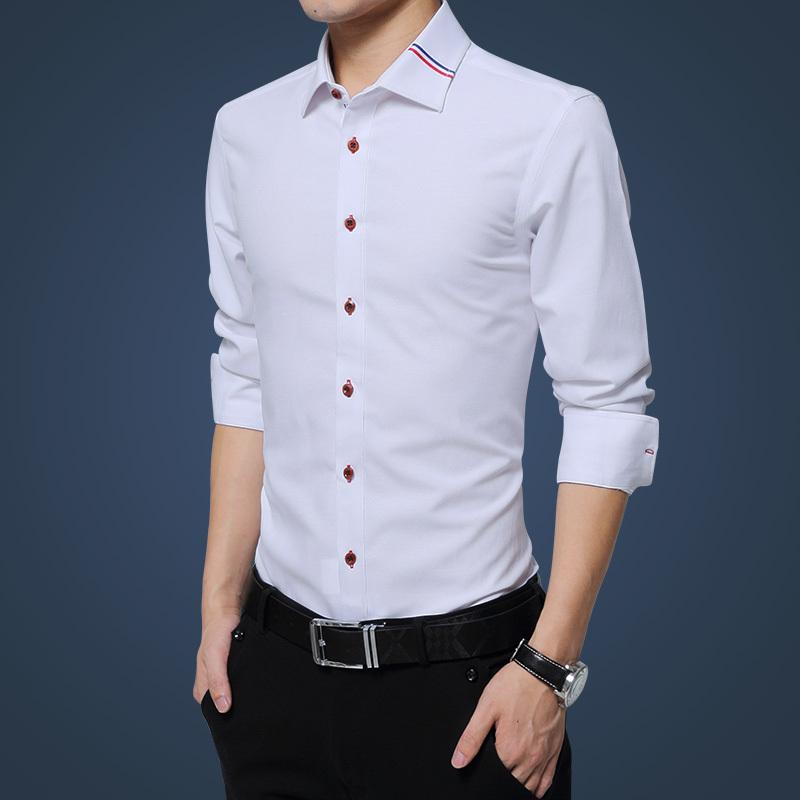 Cómodas camisas de vestir sólida para hombre de negocios camisas de manga larga collar cuadrada con ajuste regular camisa social masculina Q1231