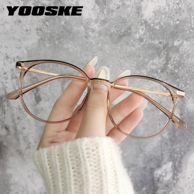 Мода Солнцезащитные очки Рамки Yooske Анти-Синие Светлые Очки Рамка Женщины Круглые Очки Старинные Урожай Металлический Студенческий Компьютер Очки Очки CLEA