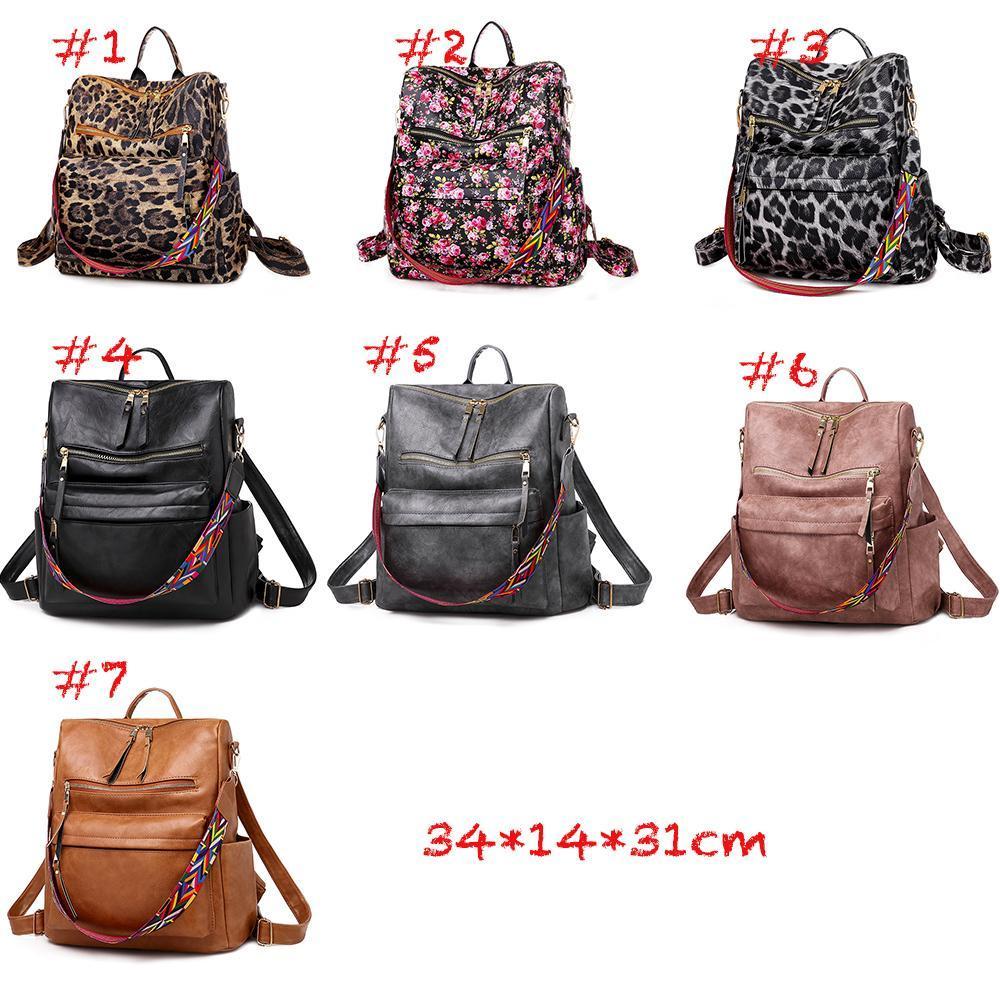 new Large multifunction leopard pu leather shoulder backpack zipper soft high quality women floral print backpack solid color handbag