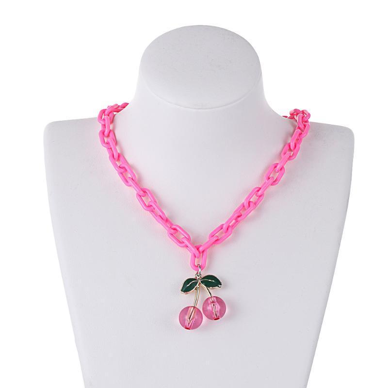 1PC Collier de cerise rose Pendentif en acrylique transparent Collier de pendentif pour femme fille mignon de cou de cou