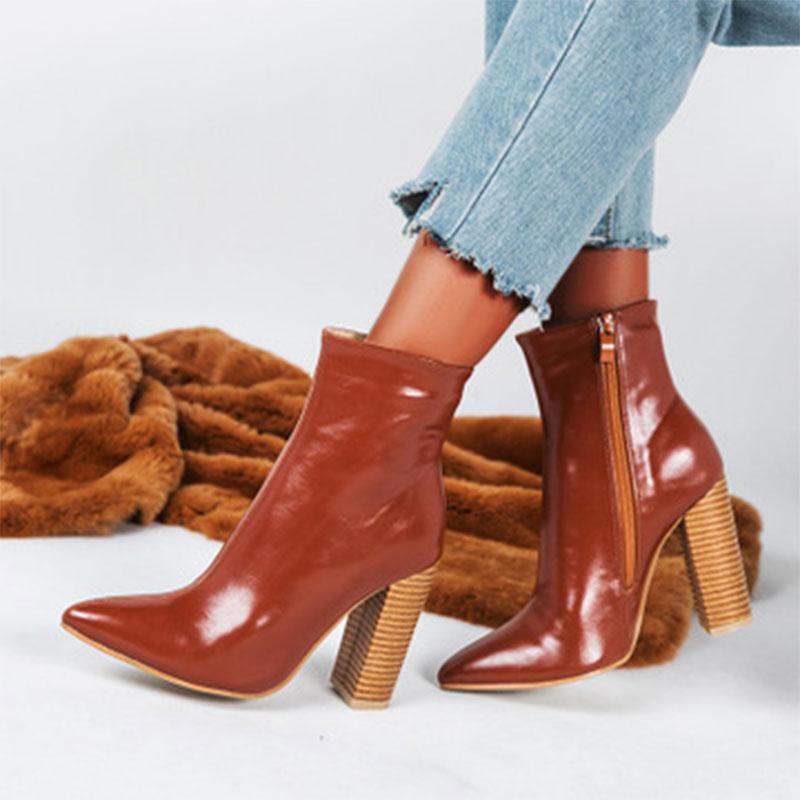 Kadın Noktası Burun Ayak Bileği Boot 2020 kadın Patent Deri Fermuar Yüksek Topuk Kadınlar Pompa Kadın Moda Ayakkabı Bayanlar Ayakkabı Artı Boyutu