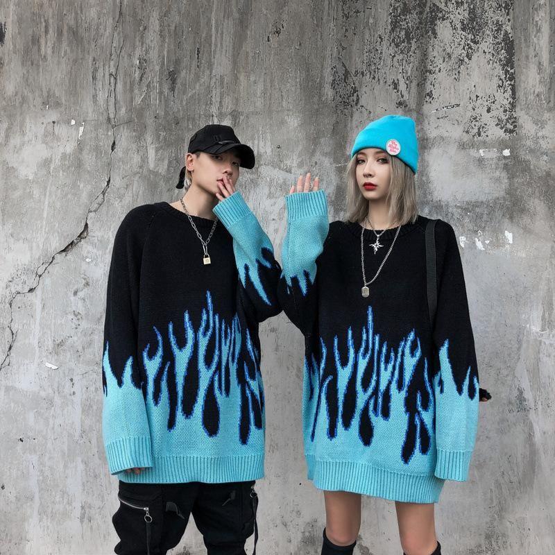 Twopleleaf 가을 새로운 끌어 당겨 스판덱스 O 넥 오버 사이즈 커플 캐주얼 남성 스웨터 남자 streetwear 레트로 불꽃 패턴 힙합
