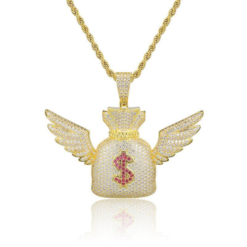 الهيب هوب لنا الدولار حقيبة المال قلادة زركون الذهب والفضة اللون بلينغ ملاك تشيكوسلوفاكيا رجل قلادة مجوهرات للهدايا
