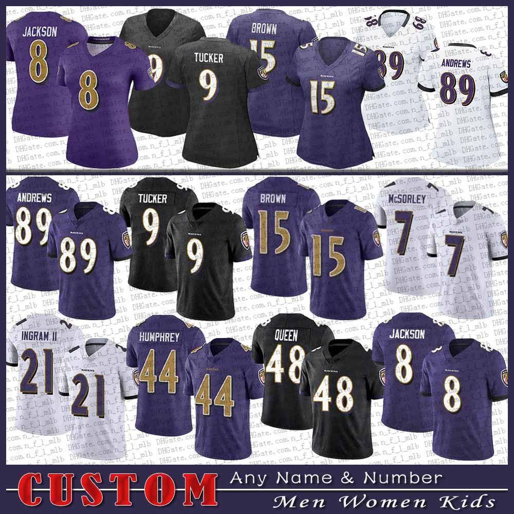 8 Lamar Jackson 9 Justin Tucker 89 Mark Andrews 27 J.K. Dobbins 15 Marquise Brown BaltimoreRaven özel erkekler kadın çocuklar futbol forması