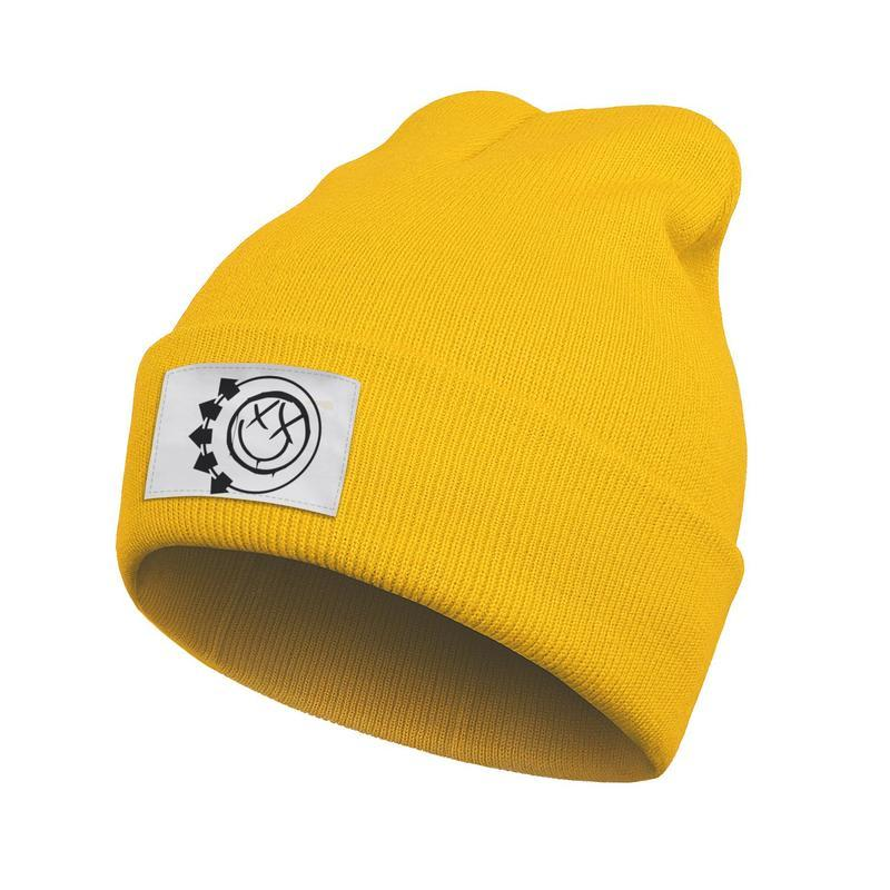 Unisex Fashion Beanie Hats Blink 182 Punk rock Funny face Winter Warm Street Dancing Knitted Cap blink punk horn Music