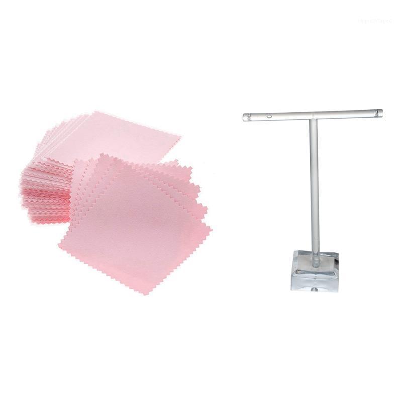 Ювелирные мешочки, сумки 2 шт. Дисплей оргстекла для прозрачных серьги 50 ткань для чистки, ювелирная полировка ткани1