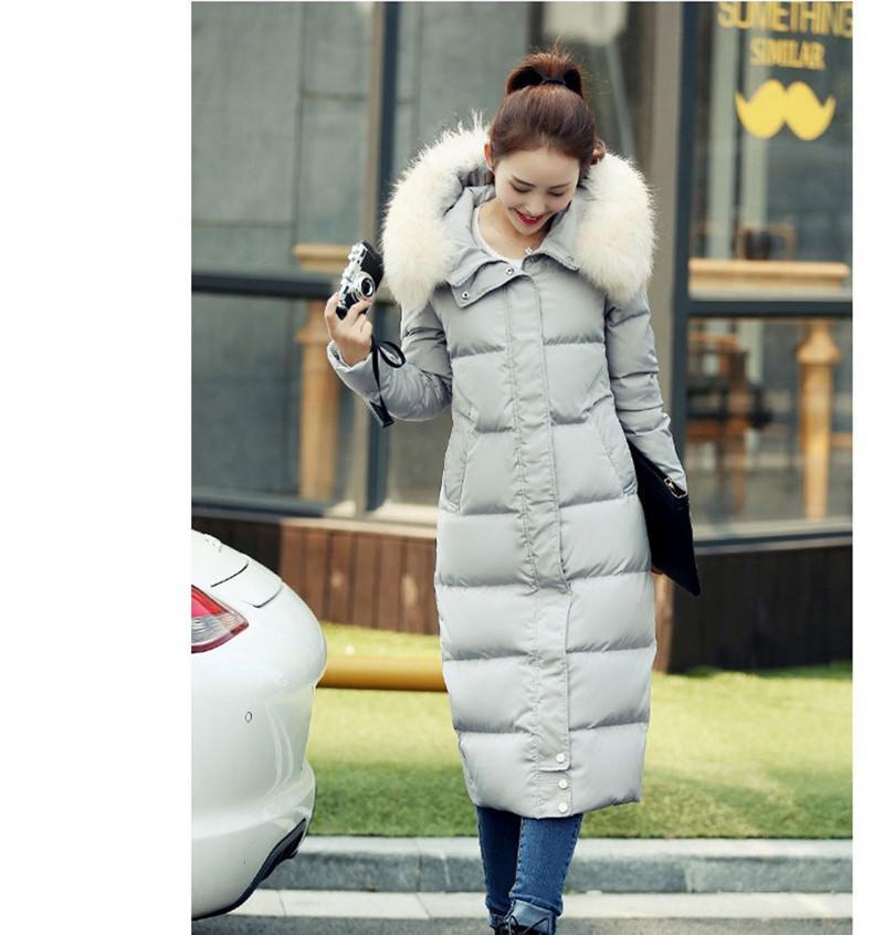 2021 Nouveau Raccoon Femmes Cuir Vestes avec capuche Veste pour femme d'hiver Padded Long Parka Chaqueta Mujer WXF521 29WY