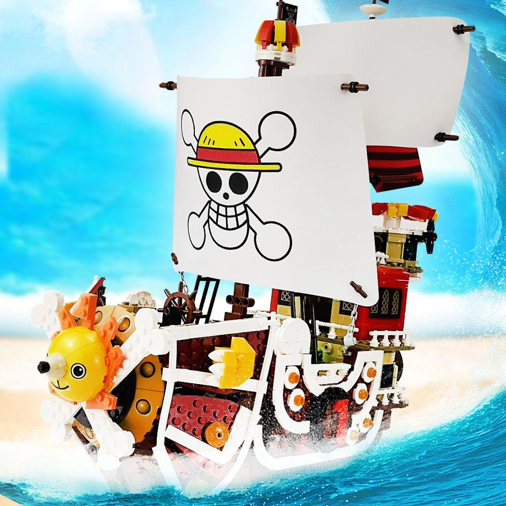1484 шт. Один куски Лодки Тысяча солнечных Пиратских кораблей Луффи Блоки модели Модель Techinc Идея Идея фигурки Строительные Блоки Детские Игрушки Подарки Q1126