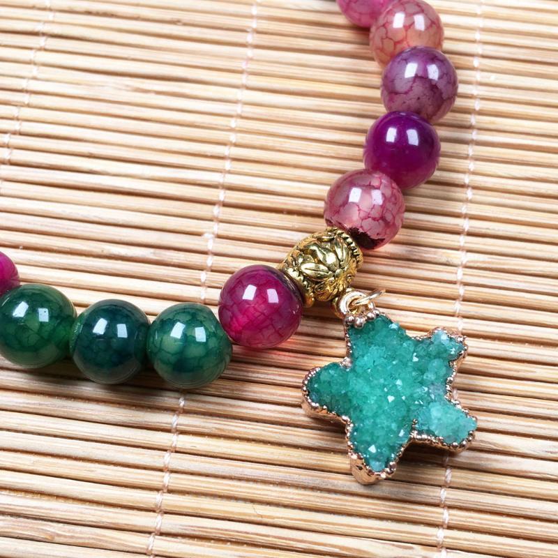 Bracciale in pietra semi preziosa naturale per perline donna: pendente a stella da 5 mm 18 * 18mm Agate colorate