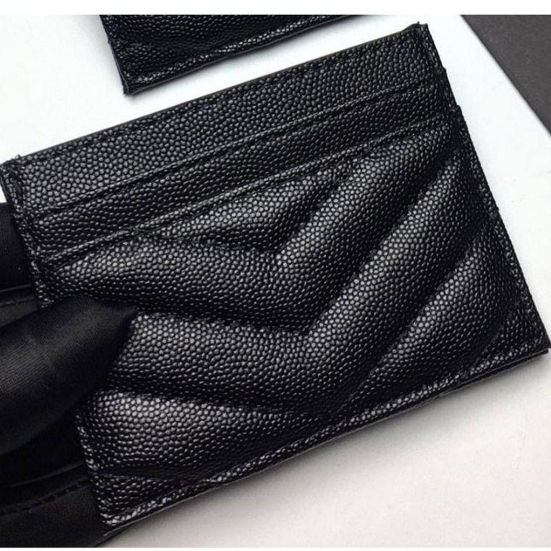2020 Nueva mujer Diseñadores de Lujos Moda Caviar Mujer Mini Color Puro Cuero Genuino Textura Textura Bolsa de Tarjeta Black Bolsas con caja