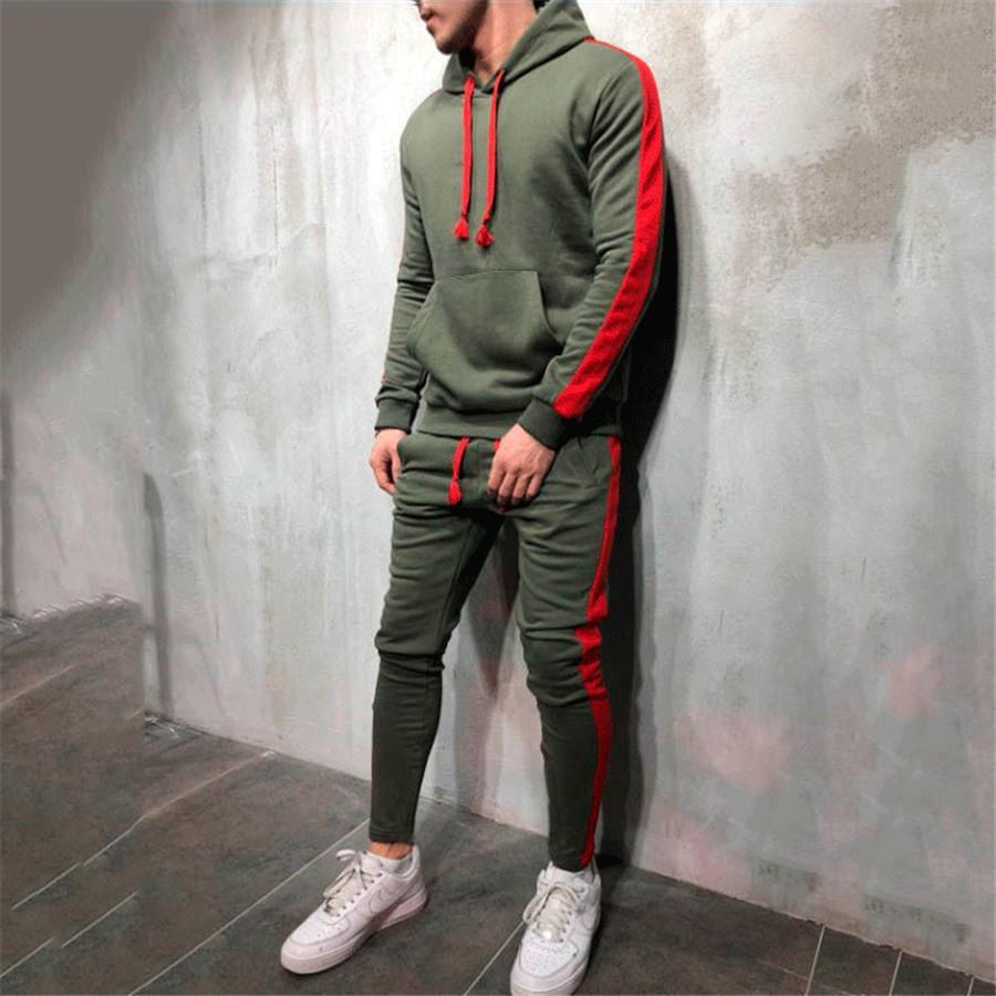 Erkekler Spor Tişörtü Hoodie Streetwear Hip Hop Eşofman Spor Koşu Spor Eğitim Pantolon Suits Çalıştır Spor Giyim